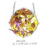 HF-339 Pastoral Vintage Birds And Grapes Tiffany Style Handmade Stained Glass Window Hanging Glass Panel Suncatcher, 21.5''x22.5''