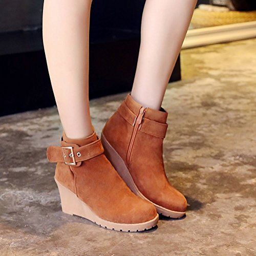 Charm Tan Ankle Mee Shoes Nubuck Boots high Womens Wedges qxzq8IOEw