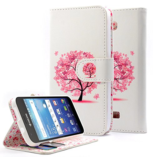 Kyocera Hydro Wave Case, Hydro Air Case, NageBee [Kickstand Feature] Premium PU Leather Flip Fold Wallet Case with [ID&Credit Card Slot] for Kyocera Hydro Wave / Hydro Air - Butterfly tree - Kyocera Wallet Phone Case