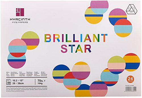 HYACINTH Brilliant Star, Pearl Flashing Metallic Look Paper Pad, 24 Colors/48 Sheets 10.2