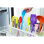 11pc Silicone Kitchen Utensil Set by CuisineFacets Colorful Cooking Utensils with Spatula, Serving Tools, Accessories and FREE Spoon Rest - Heat Resistant Spatulas and Spoons for Non-Stick Cookware 15 ✅11PC incl. FREE SPOON REST: Imagine how many colorful food creations you can now unleash all at once, because your utensil set includes everything! Silicone Wisk, Pastry Brush, 2x Spatulas, Slotted Spoon, Salad Spoon, Food Tong, All-Purpose Spoon, large Ladle, Slotted Turner, and BONUS Spoon Rest. ✅HEAT RESISTANT & EASY TO CLEAN: From the Rainbow Whisk to the Pink Pastry Brush, just pop your silicone kitchen utensils in the dishwasher to clean. Everything is made from FDA Compliant Food Grade Silicone and can withstand temperatures up to 446°F... like steaming hot pasta, pumpkin soup or pancakes. ✅WHAT'S YOUR FAVE? If you're like most people, there are always 1 or 2 kitchen tools you love the most. And if you're like us, it could even be because of color. Either way, our Cheery Utensils Set from CuisineFacets gives you the best of both - your favorite non-stick kitchen utensils, in your favorite colors too.