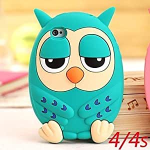 ZLXUSA (TM) Cute Owl Silicone Cases for iPhone 4/4S Green hjbrhga1544
