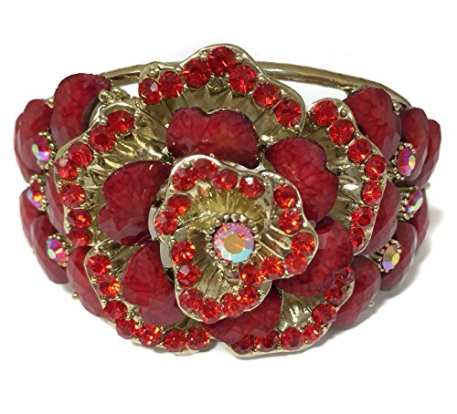 Bright Red Rose Resin Stone Rhinestone Gold Tone Hinged Bangle Bracelet