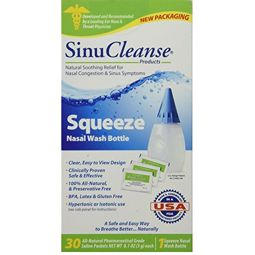 SinuCleanse Squeeze Nasal Wash Kit Plus All-Natural Saline Solution Packets, 30-Count Box (Pack of 2)