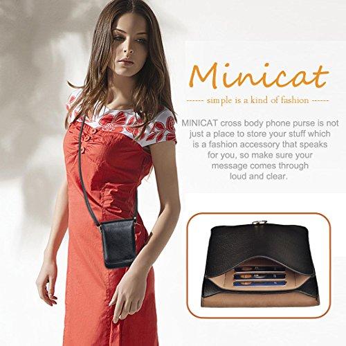 Leather Premium Small Crossbody Design Makeup Wallet Cell With MINICAT Touch Black Phone mirror Microfiber Mirror Screen Purse wgnYqYTXtU