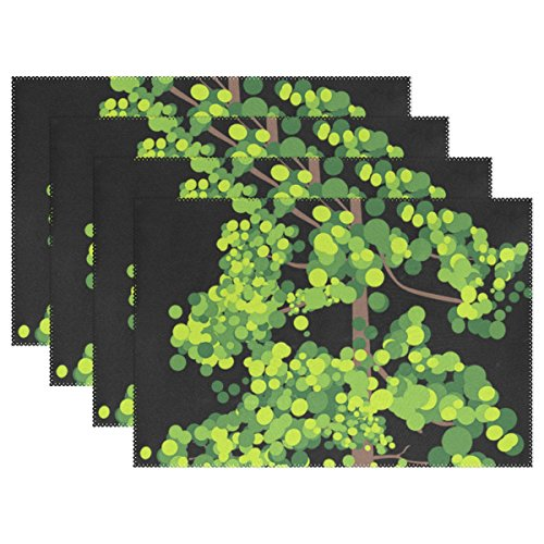 - WBSNDB Tree Leaves Trunk Summer Green Spring Nature Placemats Set Of 4 Heat Insulation Stain Resistant For Dining Table Durable Non-slip Kitchen Table Place Mats