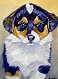 Pembroke Welsh Corgi Puppy dog Original Fine Art Miniature Oil Painting by Lyn Hamer Cook Note: room view is for display purposes only. Painting is unframed.