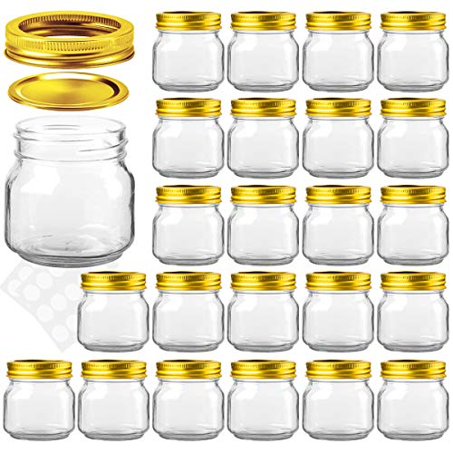 KAMOTA Mason Jars 8OZ With Regular Gold Lids and Bands, Ideal for Jam, Honey, Wedding Favors, Shower Favors, Baby Foods, DIY Magnetic Spice Jars, 24 PACK, 30 Whiteboard Labels Included -