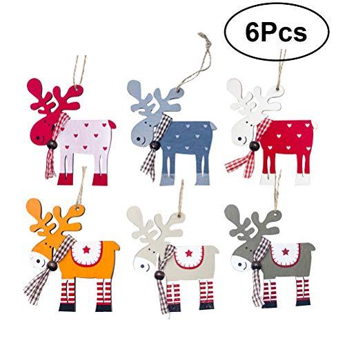 (BESTOYARD Christmas Tree Colorful Elk Decorations Wooden Hanging Reindeer Pendant Embellishment Xmas Hanging Tags Kids Gift Toys)