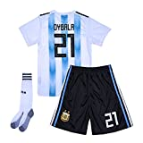 cyllr #21 Dybala 2018 World Cup Argentina Home Youth/Kids Soccer Jersey Matching Shorts,Socks.Color White/Blue Size 13-14Y