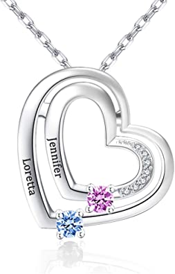 Personalized Name Necklace Custom Birthstone Heart Necklace Pendant with Engraving