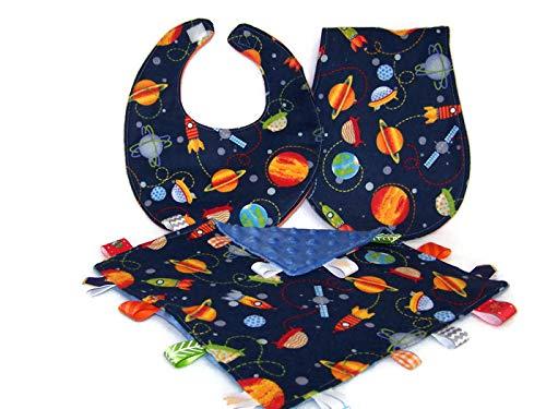 - Baby Boy Blue & Orange Solar System Theme Bib, Burp Cloth &Lovie Gift Set