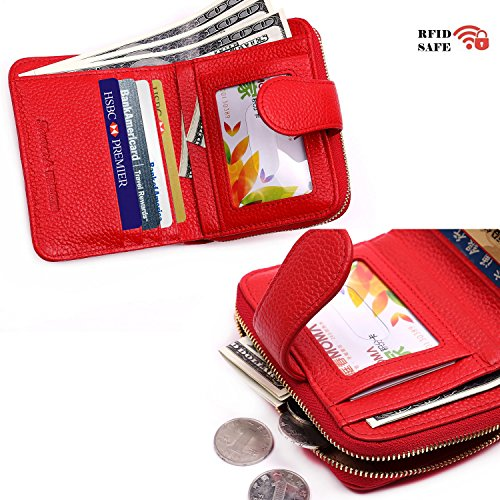 Women RFID Blocking Secure Wallet Genuine Leather Zipper Pocket for Coins or Keys (Red)