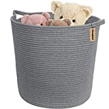 "INDRESSME Large Cotton Rope Storage Basket - Woven Toys Basket in Baby Room Nursery Storage Hamper Baby Laundry Bins with Handle for Diaper Home Decor Cool Grey, 16.0""x 15.0""x12.6"""