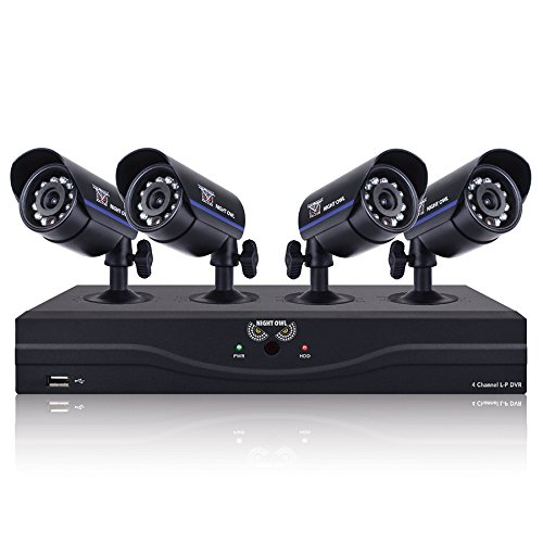 Night Owl Security L-45-4511 4-Channel 960H DVR with 500GB HDD HDMI Output 4 Night Vision Cameras and Free Night Owl Lite App (Black)
