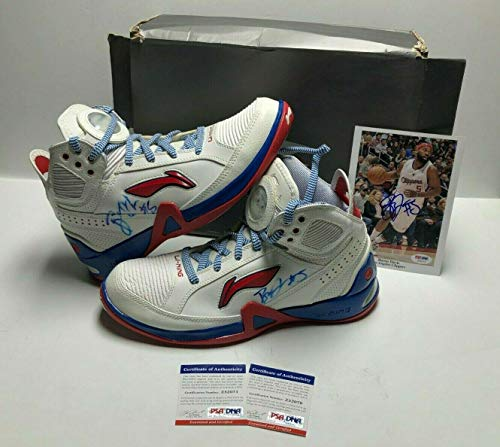(Baron Davis Signed Pair Of Clippers Basketball Shoes & 5x7 Photo - PSA/DNA Certified - Autographed NBA Sneakers)
