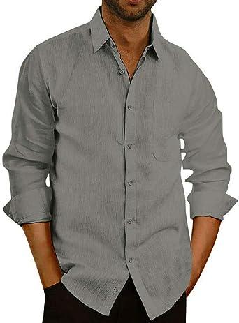 Mens Linen Cotton Shirts Casual Button Down Long Sleeve Regular Fit Shirt