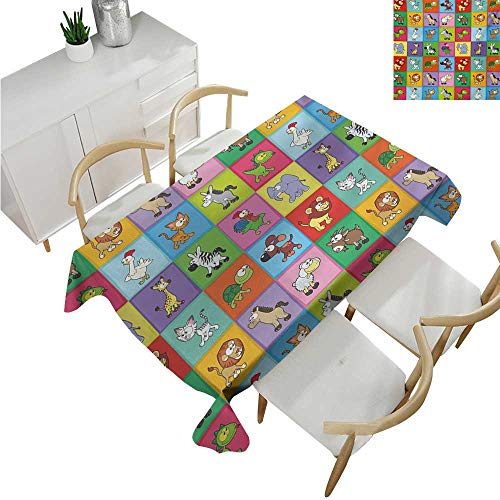 familytaste Nursery,Rectangle tablecloths,Group of Funny Young Animals in Colorful Squares Happy Cartoon Wildlife Collection,Spillproof Fabric Tablecloth 52
