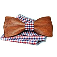 Oak wood bow tie. Mens wooden bow tie with pocket square. Bow tie from wood. Handmade bowtie. Wooden tie.