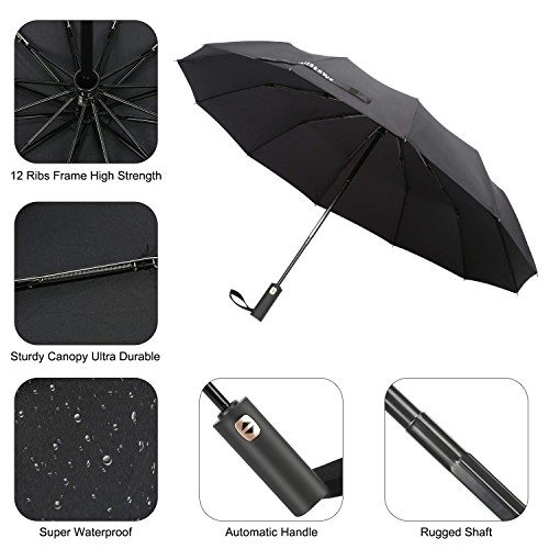 Miserwe Umbrella 12 Ribs Windproof Lengthened Handle Travel Umbrella with Auto Open Close Button and Free Upscale Leather Cover