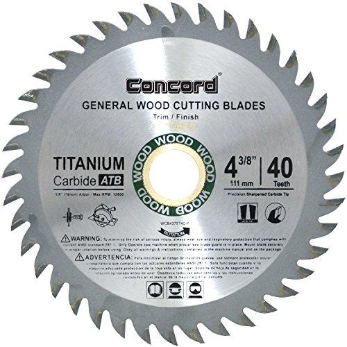 - Concord Blades WCB0438T040HP 4-3/8-Inch 40 Teeth TCT General Purpose Hard & Soft Wood Saw Blade