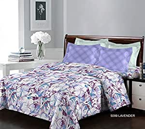 Bombay Dyeing Breeze Cotton Double Bedsheet and 2 Pillow Covers - 5099 B, Lavender
