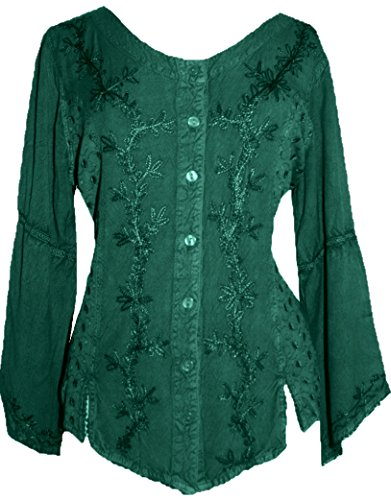 Female Medieval Clothing (Agan Traders 102 B Gypsy Medieval Renaissance Top Blouse (2X, H)