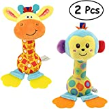 Merveilleux Cartoon Stuffed Animal Baby Plush Hand Rattle Squeaker Sticks Infant Soft Toys with Teether-Giraffe and Monkey