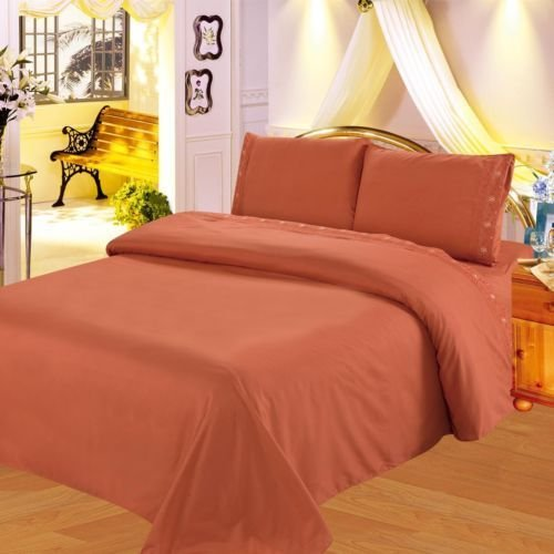 Cal King Solid Rust Orange Sheet Set Microfiber Flate Fitted Pillow Cases by Bedding Set