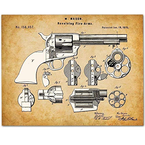 Colt Peacemaker Revolver - 11x14 Unframed Gun Patent Print - Great Gift for Gun Owners and Office Decor ()