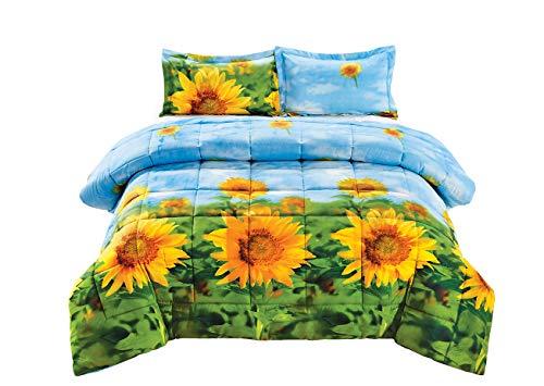 3 Piece Set Box Stitched Sunflower Prints 3d Comforter Set