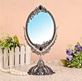 Ohcde Dheark Hot Sale Alloy Small Makeup Mirror Cosmetics Beauty Tools Princess Double Faced Desktop Makeup Compact Cosmetic Mirror,Silver