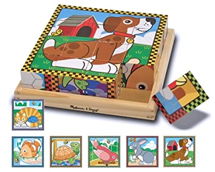 377c2dce81ca Image Unavailable. Image not available for. Color  Melissa   Doug Pets  Wooden Cube Puzzle With Storage Tray ...