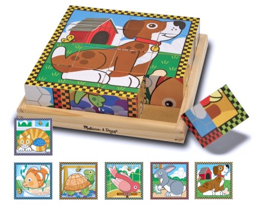 Melissa & Doug Pets Wooden Cube Puzzle With Storage Tray (16 (Melissa & Doug Border)