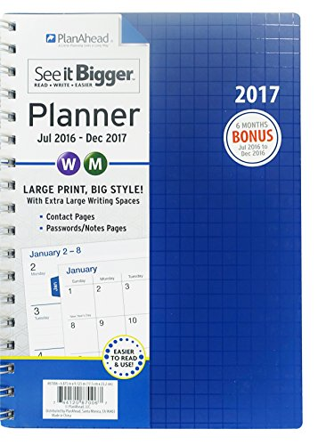 Planahead See It Bigger 18 Month Planner  July 2016   December 2017  Assorted Colors  87006