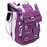 Evecase Canvas Backpack with Laptop Compartment and Rain Cover for DSLR Cameras (Purple)