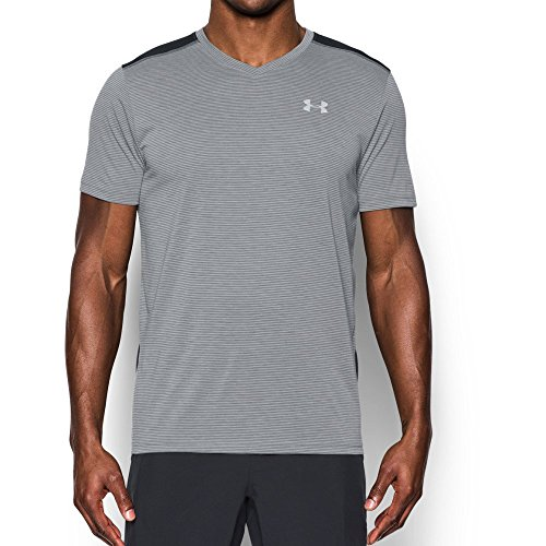 Under Armour Men's Threadborne Streaker V-Neck T-Shirt, True Gray Heather/Black, XX-Large
