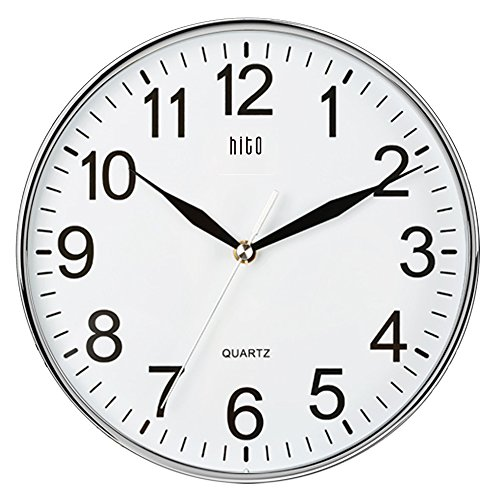 hito silent nonticking wall clock 10 inches chrome