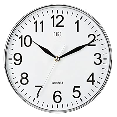 hito Silent Non-Ticking Wall Clock- 10 Inches - Large numbers and glass front cover guarantee good view. Super-quality Quartz Sweep Movement guarantees accurate time and absolutely silent environment; Average battery can last about one year. Powered by one AA battery (not included). Please use average carbon battery, instead of rechargeable batteries. - wall-clocks, living-room-decor, living-room - 51fv%2BkfTC7L. SS400  -