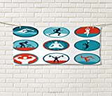 Anniutwo Fitness,Hand Towel,Graphic Circular Icons Jogging Swimming Meditation Sports Themed Signs,Quick-Dry Towels,Teal Red White Size: W 20'' x L 20''