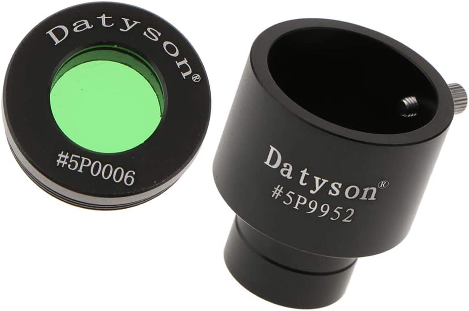 """Full Metal 0.965/"""" to 1.25/"""" Telescope Eyepiece Adapter Ring with Red Filter"""
