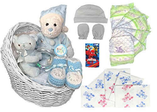 Baby Shower Gift Basket for a Boy - Newborn Teddy Bear Bedtime 16 Piece Gift Set