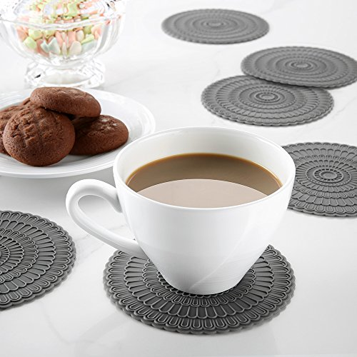 Large Product Image of Silicone Coasters for Drinks,Protect Furniture From Water Mark & Damage - Good Grip.Deep Trap,4 Inch By zanmini (gray)