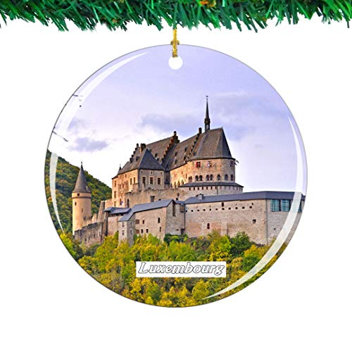 Weekino Vianden Castle Luxembourg Christmas Ornament City Travel Souvenir Collection Double Sided Porcelain 2.85 Inch Hanging Tree Decoration (Luxembourg Christmas)