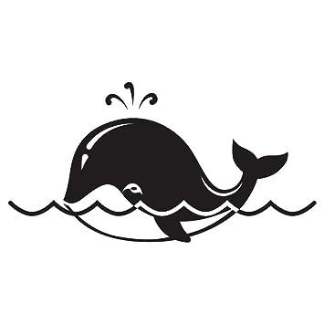 Amazon.com: Cute dibujos animados ballena Negro Vinilo ...