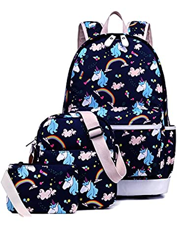 812c20b7b4 Kemy's Unicorn Backpack for Girls School Bookbag 3 Pieces Cute Inicorn  Rainbow Book Bags 14inch Laptop