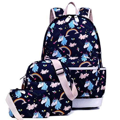Kemy's School Backpack for Girls Set 3 Cute Bookbag Lunchbag Sets Laptop School Bag for Teen Girls Waterproof, Navy Blue