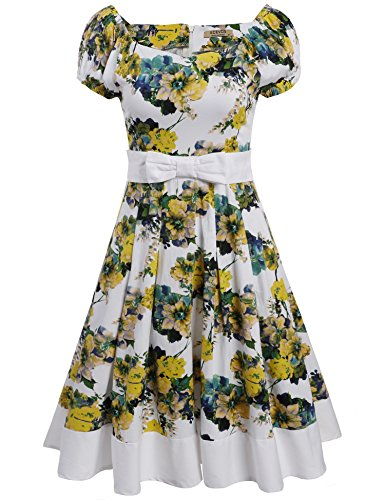 ACEVOG-Women-Vintage-Styles-Puff-Sleeve-Bow-Prints-A-Line-Pleated-Cocktail-Dress