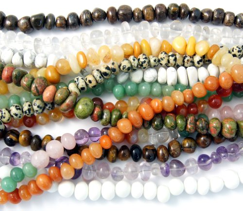 5 Strands of Mix Natural Irregular Shaped Gemstone Rondelle Beads. Beads Are Approx 8-14mmx4-10mm, 16 Inch Strand. ()