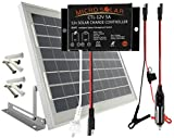 MicroSolar - 10W Solar Panel Charging Kit for 12v Battery /// Plug & Play /// Solar Charge Contoller Included - Braket Included - 18 Feet Waterproof Wire - Optional 16.4 Feet Extension Wire - Cigarette Plug with Fuse - Alligator Clips with Fuse ----- Car & Boat Battery Maintainer